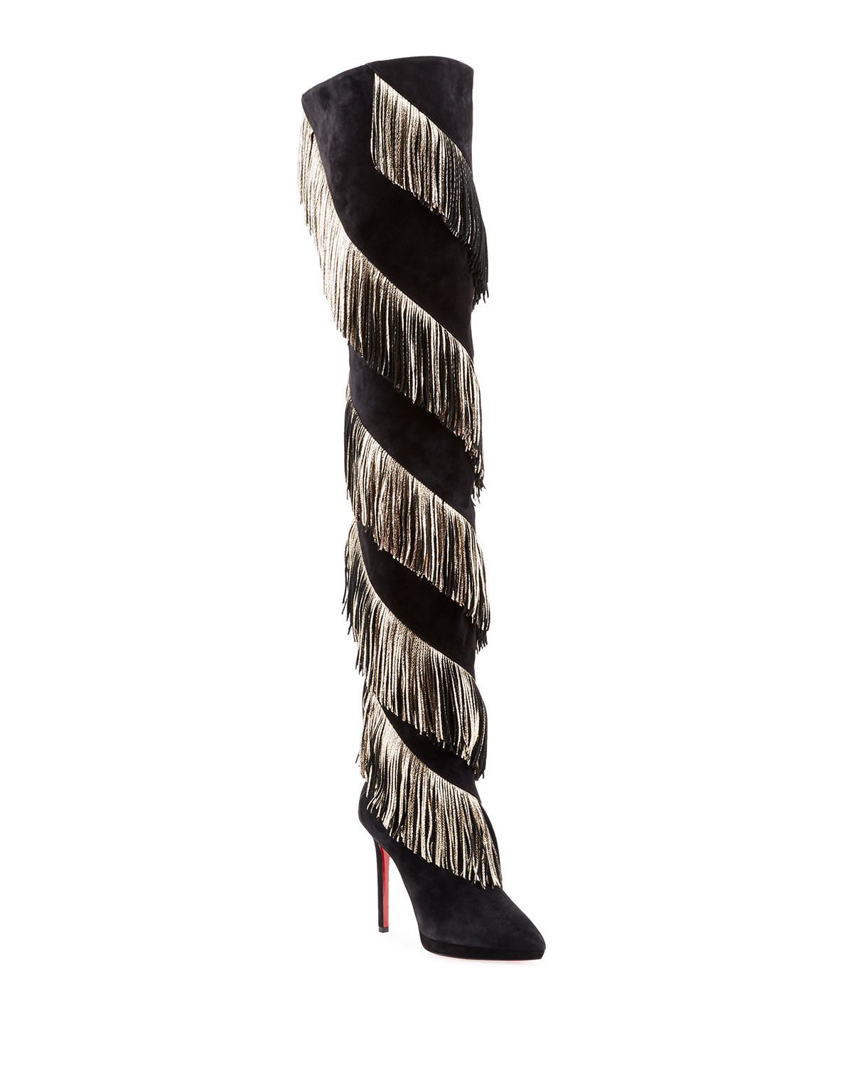 Bolcheva Fringe Red Sole Knee Boots