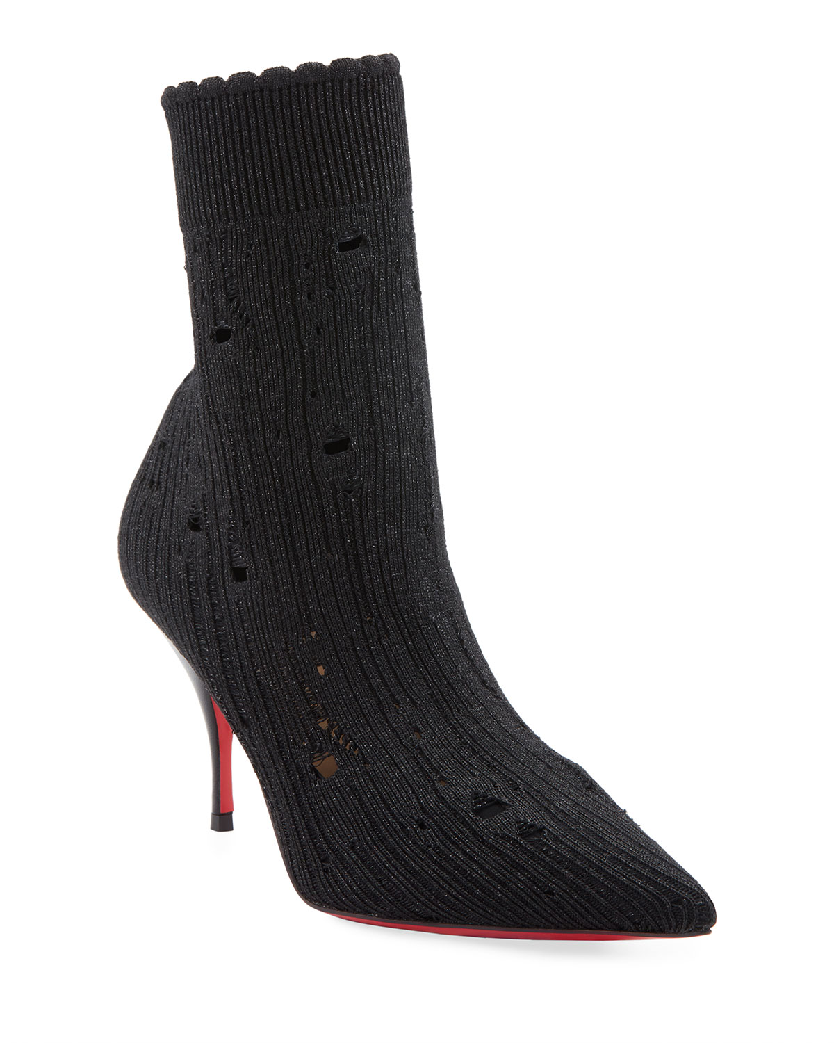 Sandrine Distressed Red Sole Booties