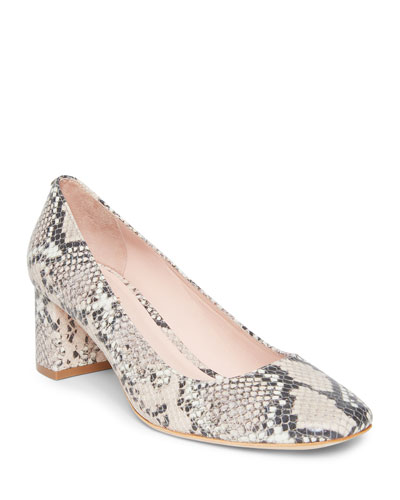kylah snake-embossed leather pumps