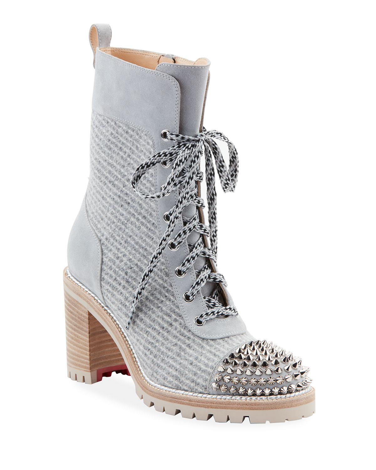 official photos 6e95e aca56 Ts Croc Wool And Leather Lace-Up Red Sole Booties in Gray