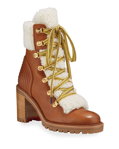 Yetita Red Sole Hiker Booties with Shearling Collar
