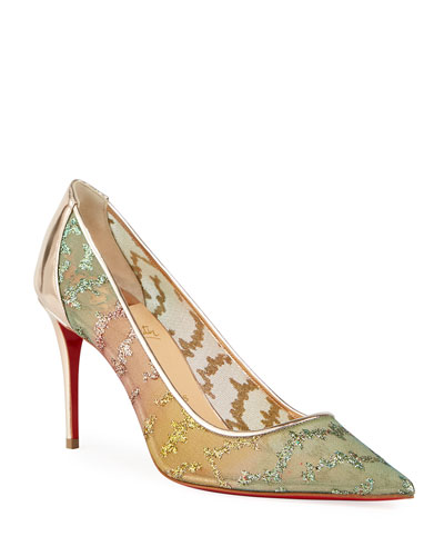 Follies Lace Metallic Embroidered Red Sole Pumps