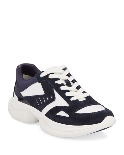 Bubble Lace-Up Suede Sneakers