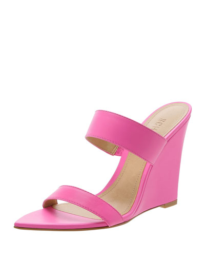 Soraya Leather Wedge Slide Sandals