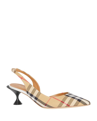 Leticia Archive Check Slingback Pumps
