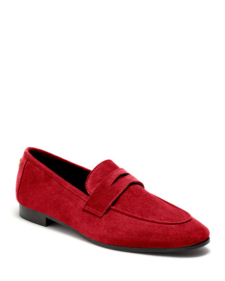 Bougeotte Flaneur Suede Loafers, Scarlet