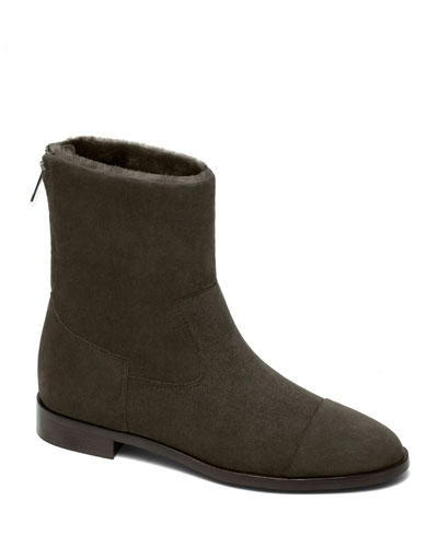 Suede and Shearling Biker Booties, Khaki