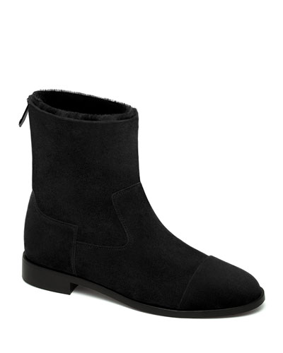 Suede and Shearling Biker Booties, Black