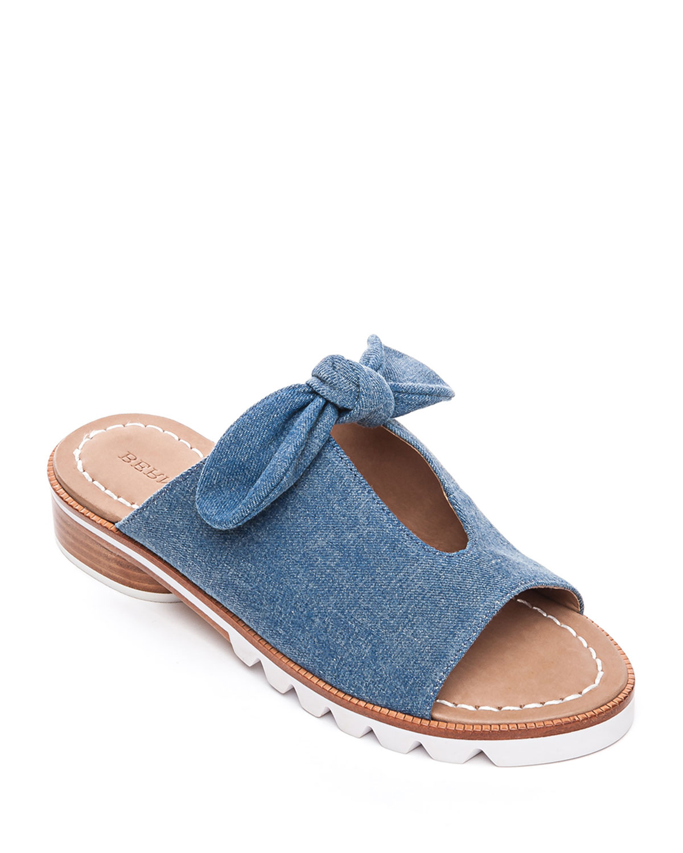 Alice Denim Bow Slide Sandals