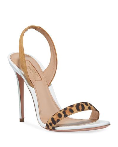 So Nude Leopard-Strap Slingback Sandals
