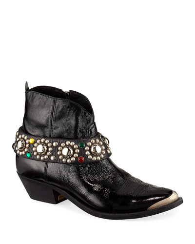 Young Western Ankle Boots with Studded Belt