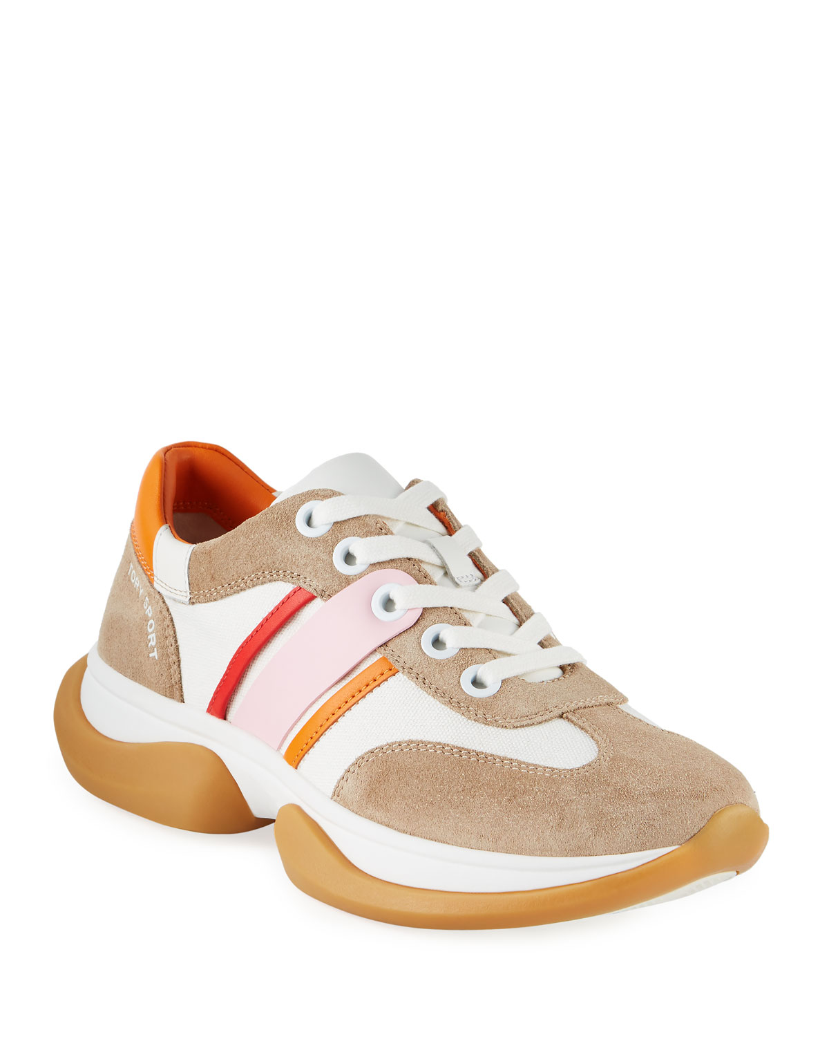 Striped Lace-Up Suede Sneakers