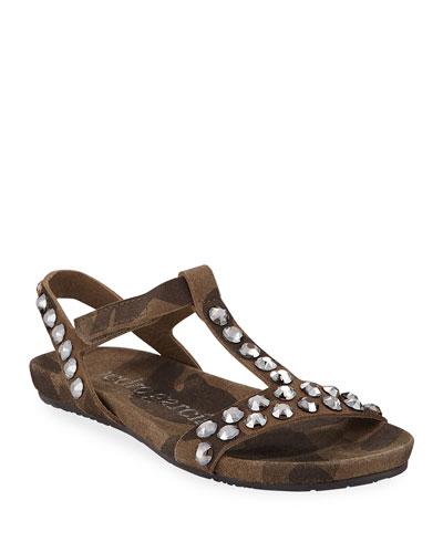 Jeril Embellished T-Strap Sandals