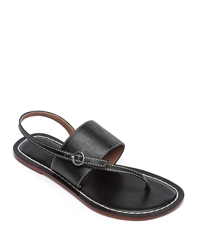 Meg Leather Flat Sandals, Black