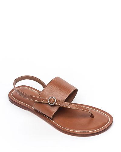 Meg Leather Flat Sandals, Luggage