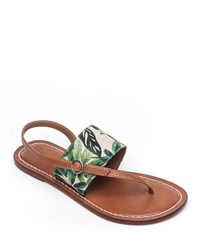 Meg Leather Flat Sandals, Palm
