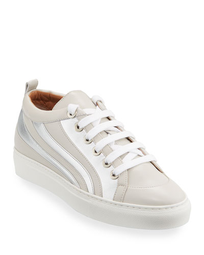 Flat Striped Lace-up Sneakers