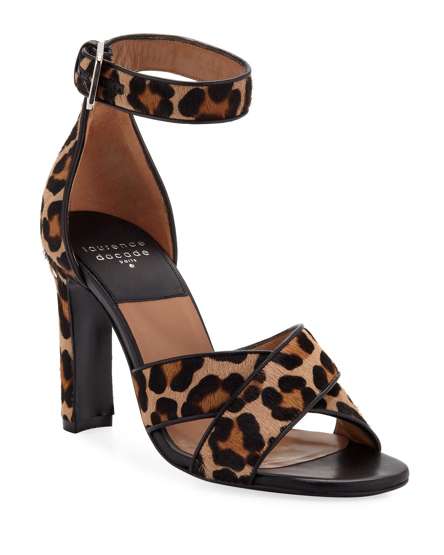 Thilan Crisscross Leopard Ankle-Wrap Sandals