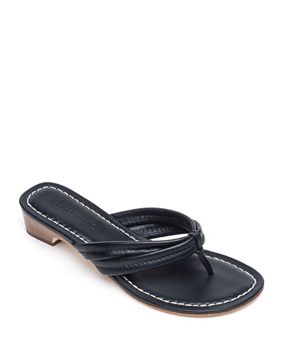 Miami Leather Thong Sandals, Navy