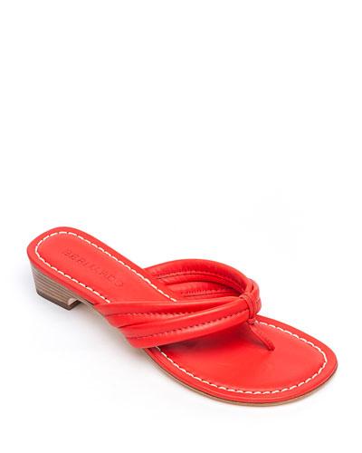 Miami Leather Thong Sandals, Tomato