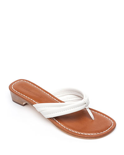 Miami Flat Antiqued Leather Thong Sandals