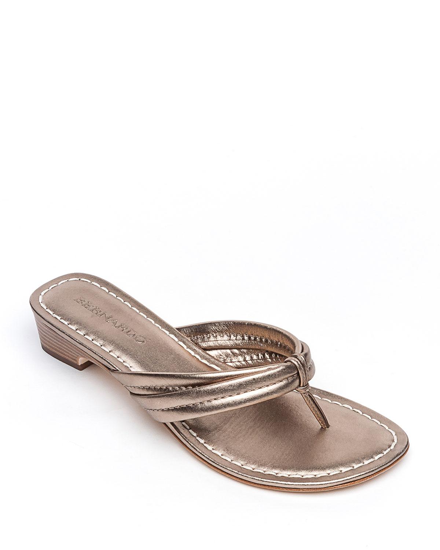Miami Metallic Thong Sandals, Gray