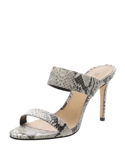 Leia Snake-Embossed Strappy Slide Sandals