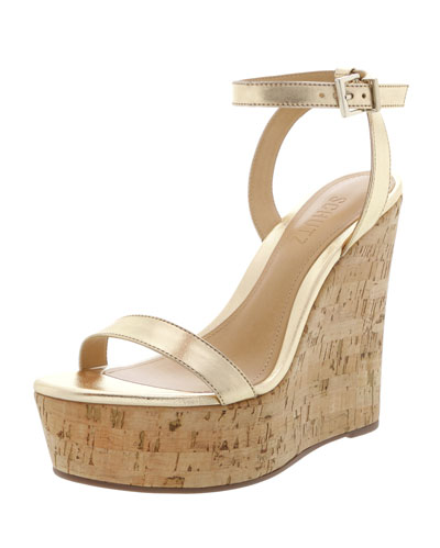 Eduarda Metallic Leather Cork-Wedge Sandals