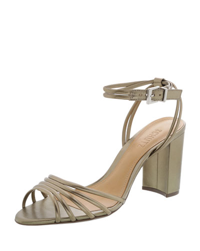 Nicolai Strappy Metallic Block-Heel Sandals