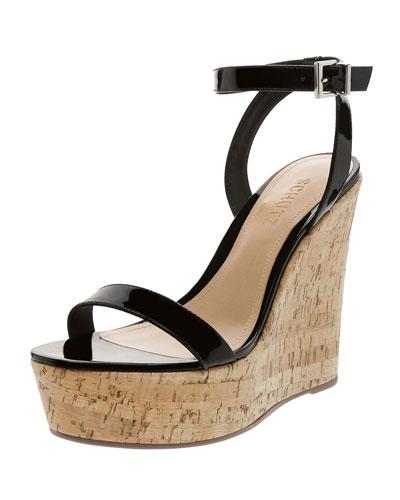 Eduarda Patent Leather Cork-Wedge Sandals