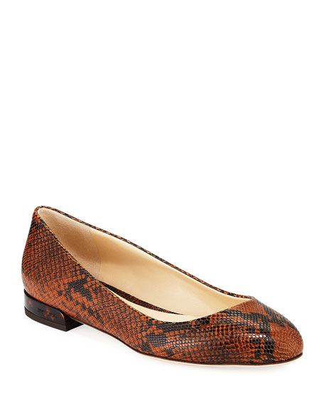 Jimmy Choo Jessie Snake-Embossed Leather Flats