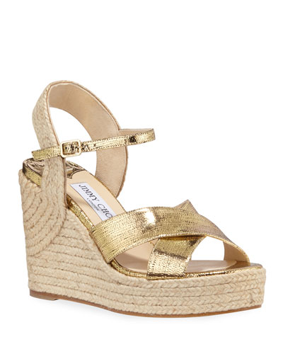 Dellena Metallic Wedge Espadrilles