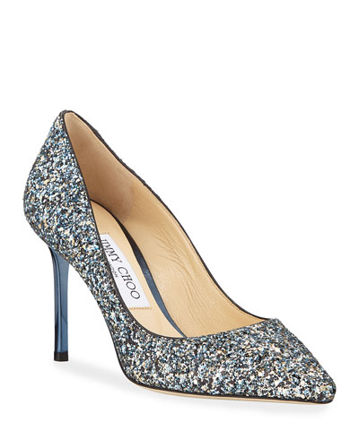 Romy 85mm Party Coarse Glitter Pumps