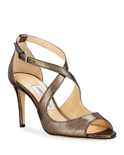 Emily Metallic Lizard-Print Sandals