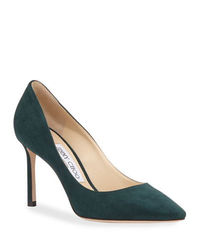 Romy 85mm Suede Pointed Pumps