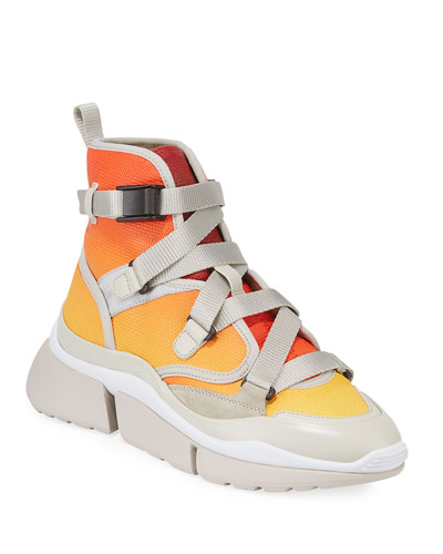 Sonnie High-Top Ombre Leather Sneakers