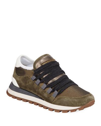 Metallic Lace-Up Suede Trainer Sneakers