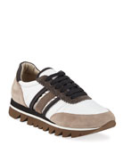Brunello Cucinelli Leather and Suede Sneakers with Exaggerated
