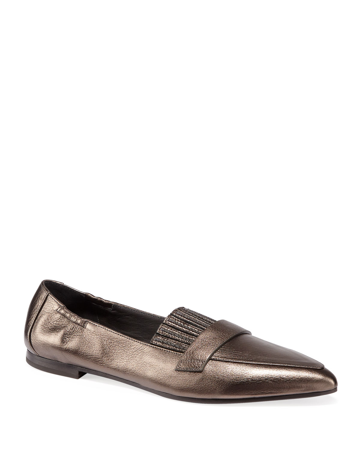 Metallic Leather Flats with Monili Fringe