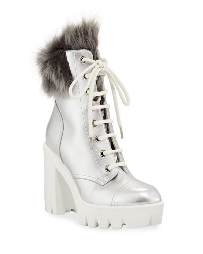 Metallic Platform Combat Boots with Fur Lining
