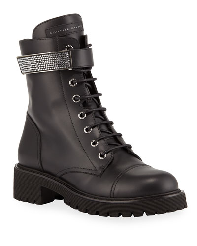 Leather Combat Boots with Jewel Strap