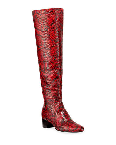 Snake-Print Knee Boots