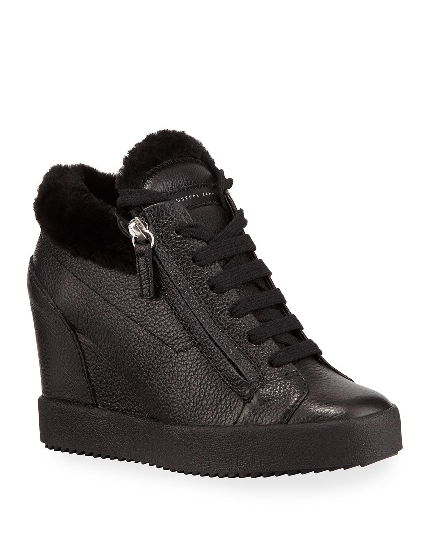 Fur-Lined High-Top Sneakers, Black