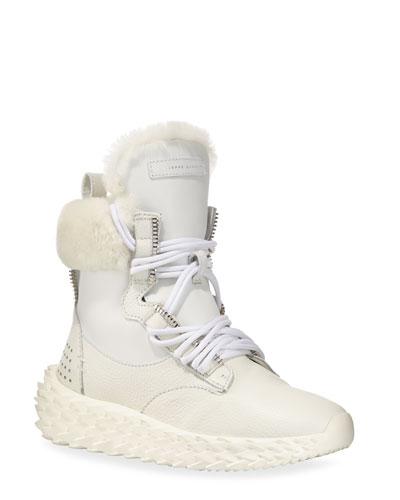Fur-Lined High-Top Sneakers, White