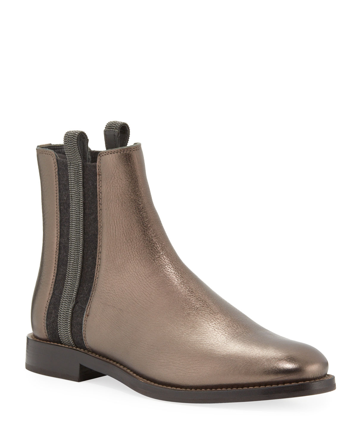 Metallic Leather Chelsea Boots