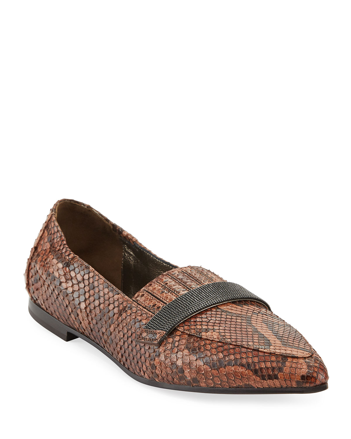 Python Ballet Flats with Monili Trim