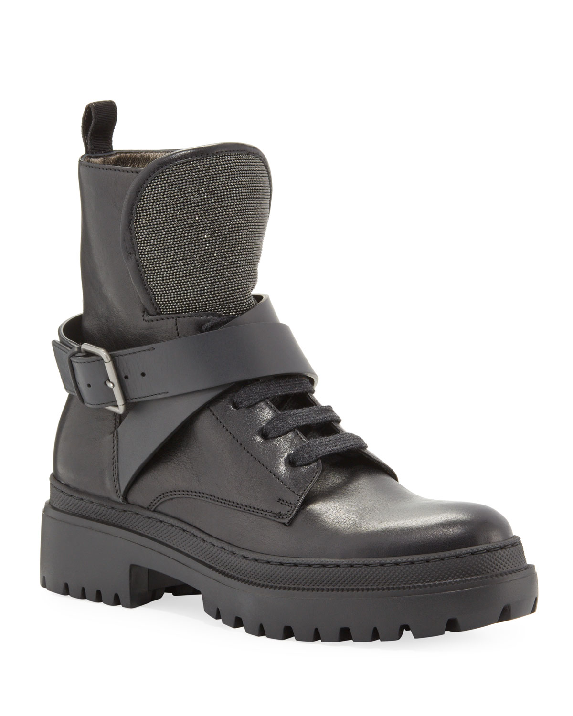Lug-Sole Monili Lace-Up Combat Boots