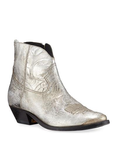 Young Metallic Western Booties