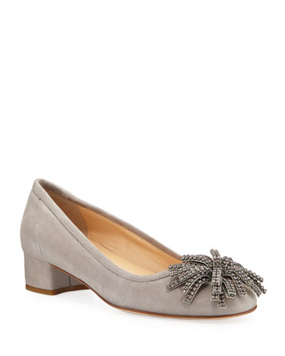 Hope Ornamented Suede Block-Heel Pumps, Gray