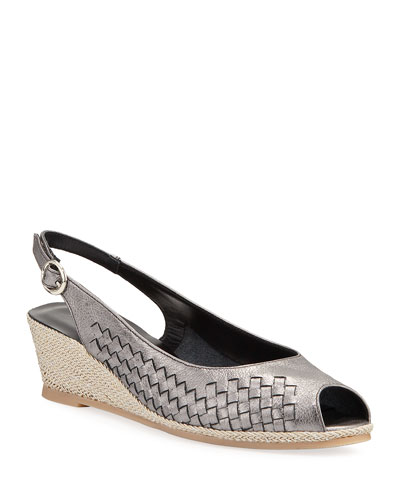 Manie Woven Metallic Demi-Wedge Pumps